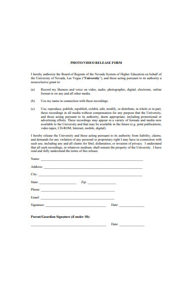 photo and video release form template