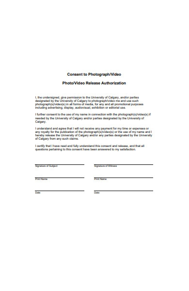 photo or video release authorization form