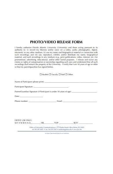 photo or video release form in pdf
