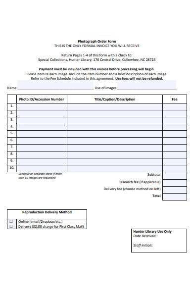 photograph order agreement form
