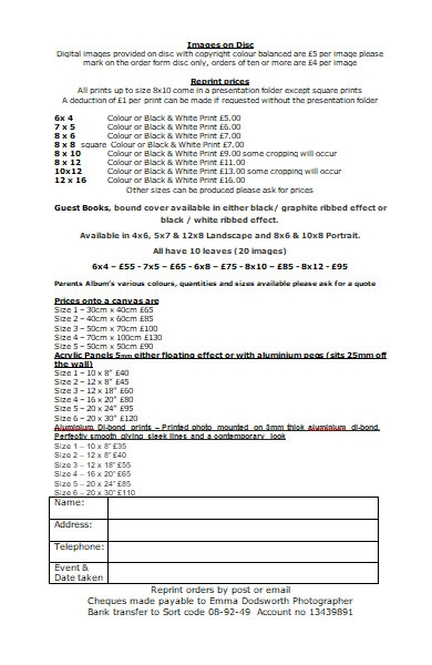 photograph re print order form