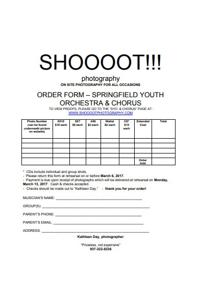 photograph shoot order form