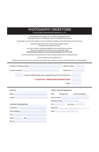 photography order form sample1