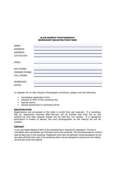 photography workshop registration forms