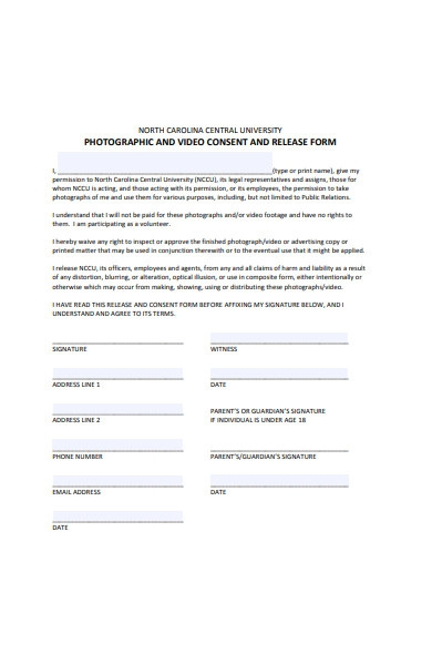 photography and video consent and release form