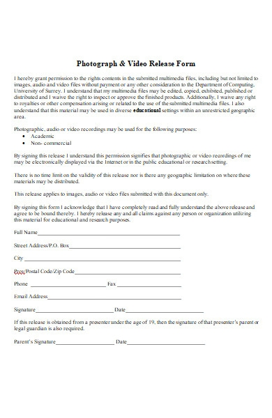 photography and video release form in ms word