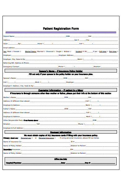 plastics patient registration form