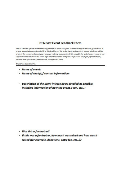 post event feedback form