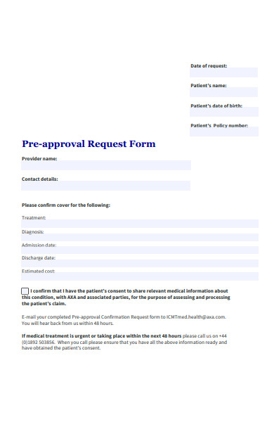 pre approval request form