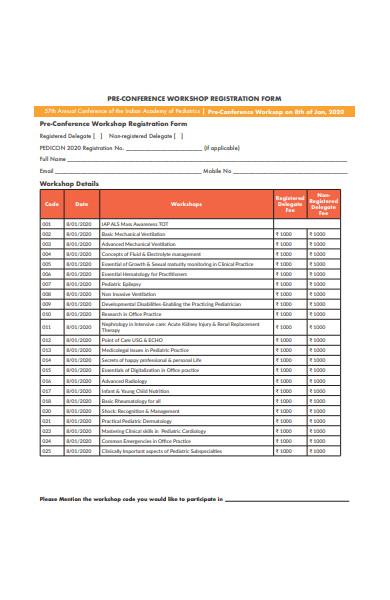 pre conformance workshop registration form