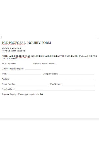 pre proposal inquiry form