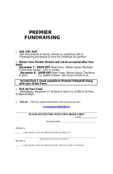 premier fundraising order form