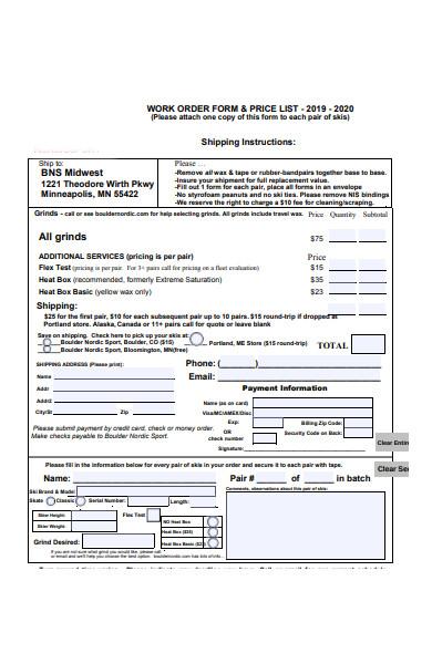 price list work order form