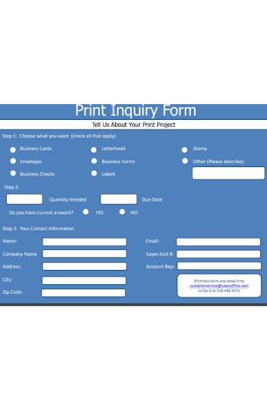 print inquiry form
