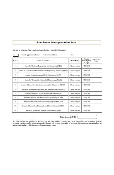 print journal subscription order form