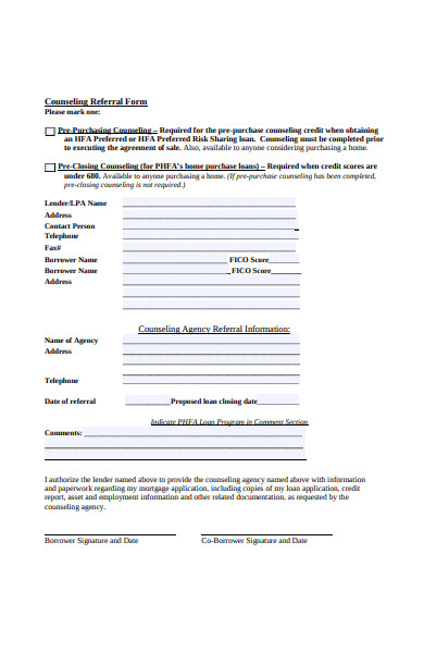 printable counseling referral form