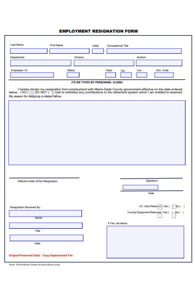 printable employee resignation form