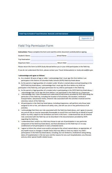 printable field trip permission form
