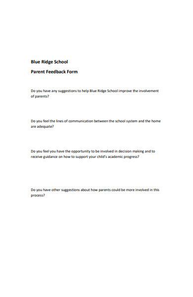 printable parent feedback form
