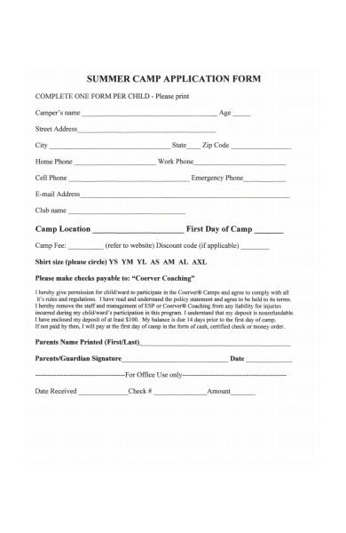 printable summer camp application form
