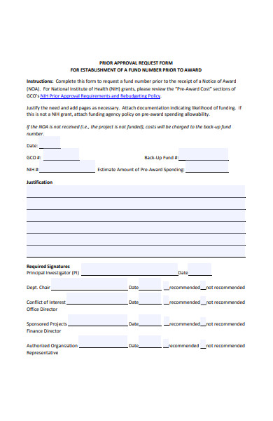 prior approval request form
