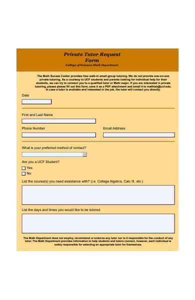private tutor request form