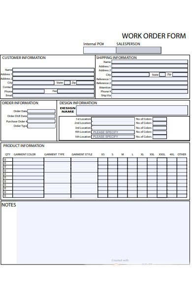 product work order form