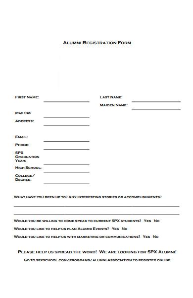 professional alumni registration form