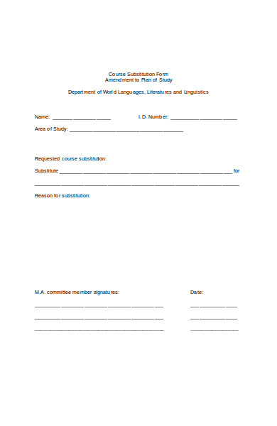 professional course substitution form