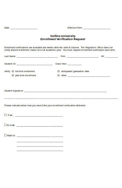 professional enrollment verification form