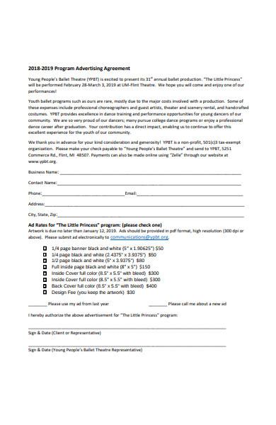 program advertising agreement form
