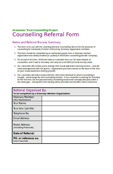 project counseling referral form
