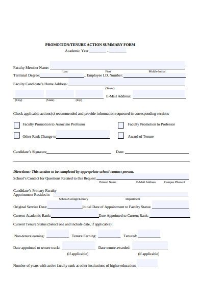 promotion action summary form