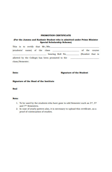 promotion certificate form