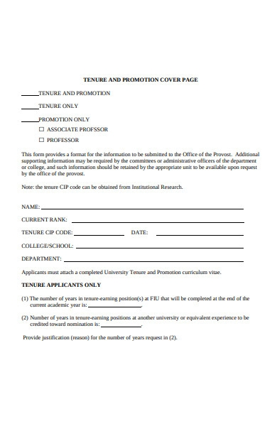 promotion cover page form