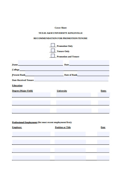 promotion cover sheet form