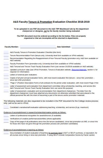 promotion evaluation checklist form