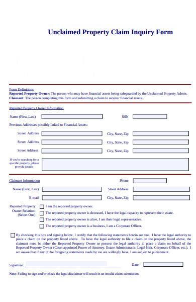 property claim inquiry form