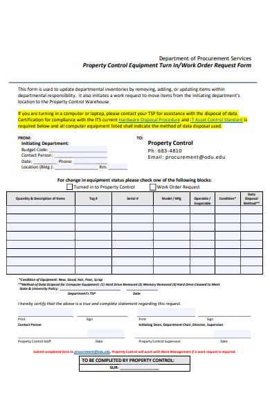 property work order form