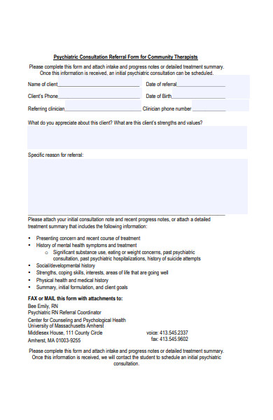 psychiatric counseling referral form