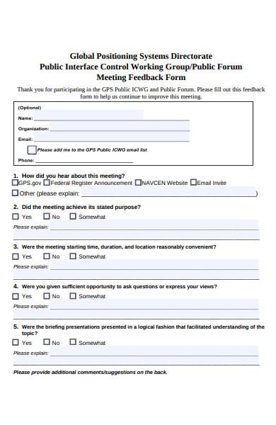 public forum meeting feedback form