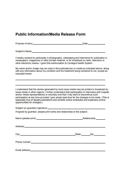 public information media release form