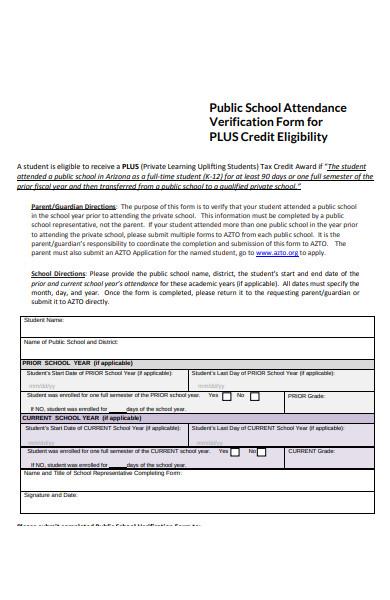 public school attendance verification form