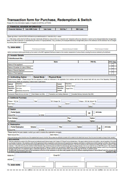 purchase form for redemption