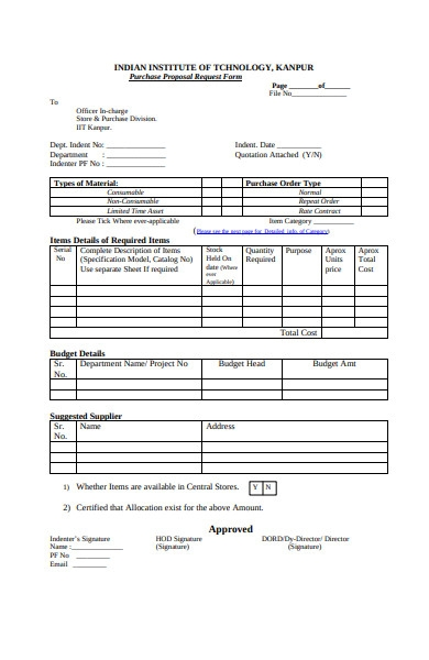 purchase request form