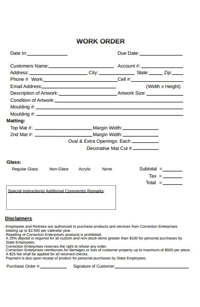 purchase work order form