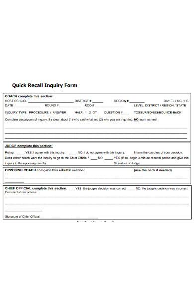 quick recall inquiry form