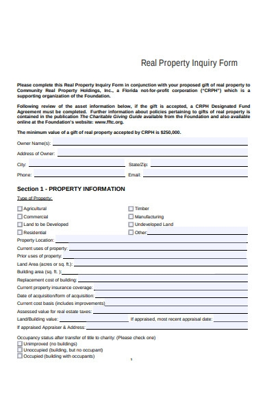real property inquiry form