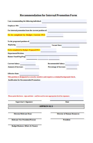 recommendation promotion form