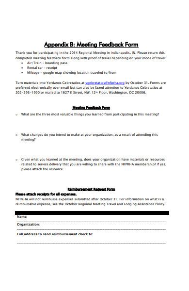 regional meeting feedback form